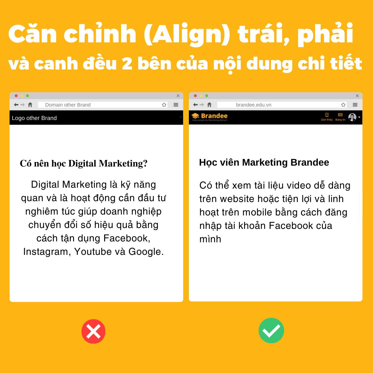 Căn chỉnh (Align) trái, phải và canh đều 2 bên của nội dung chi tết