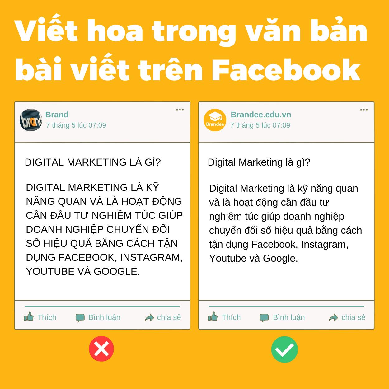 Viết hoa trong văn bản bài viết trên Facebook