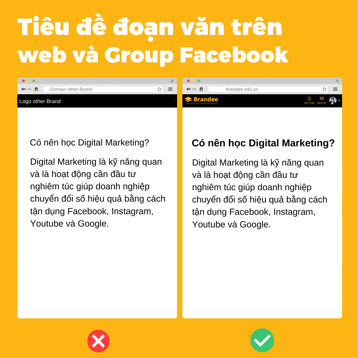 Tiêu đề đoạn văn trên  web và Group Facebook