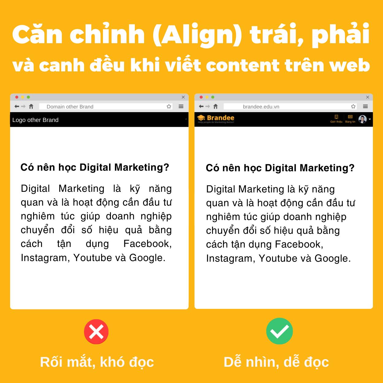 Căn chỉnh (Align) trái, phải và canh đều khi viết content trên web
